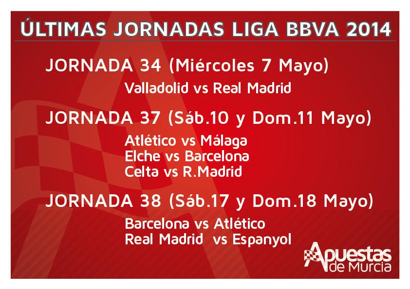 6 partidos que decidirán el campeón de la Liga BBVA 2014