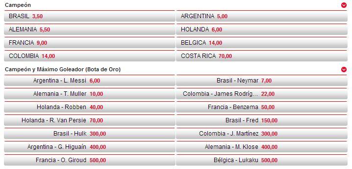 Cuotas para el ganador del Mundial a día 3 de Julio en nuestra web www.apuestasdemurcia.es