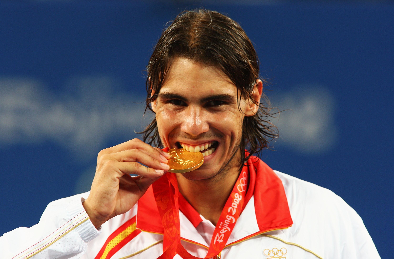 Rafa Nadal Ganando en los Juegos Olímpicos de Beijing, la medalla de oro